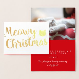 Meowy Christmas Holiday Cat Pun Design Foil Card