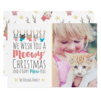 'Meowy Christmas' Holiday Cats In Antlers Photo Card