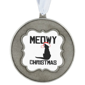 Meowy Christmas - Holiday Humor -.png Scalloped Pewter Christmas Ornament