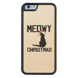 Meowy Christmas - Holiday Humor Carved® Maple iPhone 6 Bumper