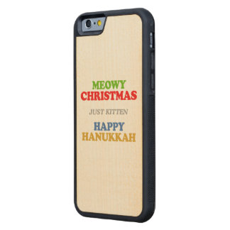 Meowy Christmas -- Holiday Humor Carved® Maple iPhone 6 Bumper