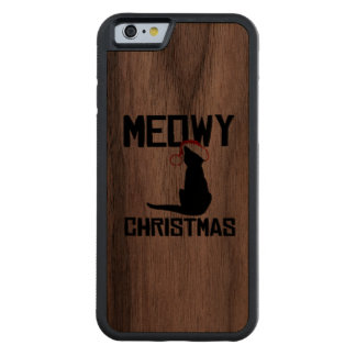 Meowy Christmas - Holiday Humor Carved® Walnut iPhone 6 Bumper