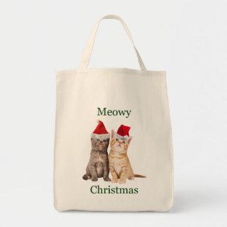 Meowy Christmas Kitten Tote Bag