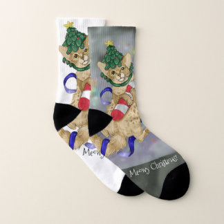Meowy Christmas Kitty Cat Socks