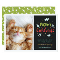 Meowy Christmas Kitty Photo Card | Green