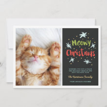 Meowy Christmas Kitty Photo Card | Green