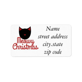 Meowy Christmas Label