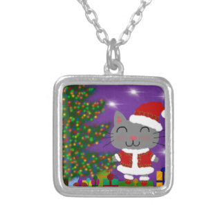 Meowy Christmas Silver Plated Necklace