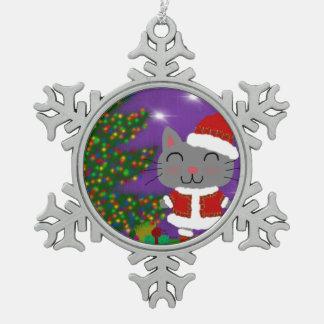 Meowy Christmas Snowflake Pewter Christmas Ornament