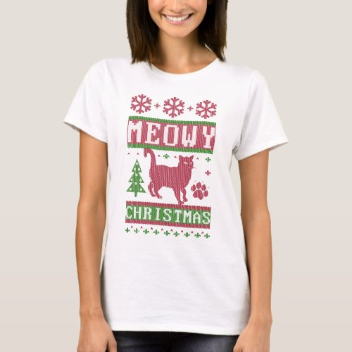 Meowy Christmas T-Shirt After Christmas Sales 5141