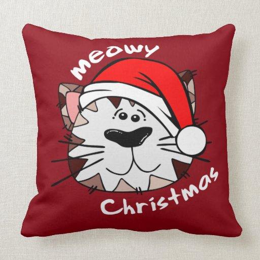 Throw Pillows 20 X 20 : Meowy Christmas Throw Pillow 20