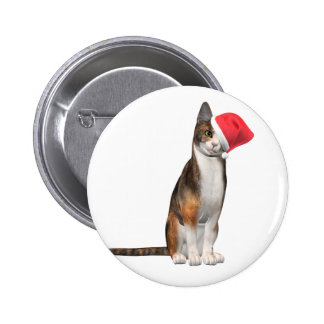Meowy Christmas with a playful cat in a hat Pinback Button