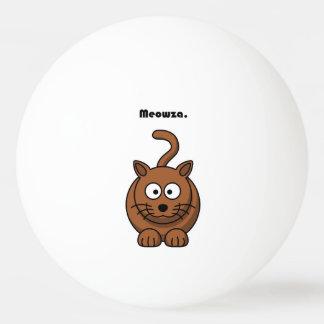 Meowza Brown Cat Cartoon Ping-Pong Ball