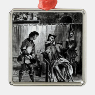 Mephistopheles and the Pupil Square Metal Christmas Ornament