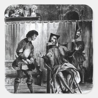 Mephistopheles y el alumno pegatina cuadrada