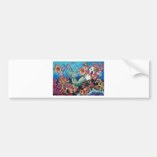 Mer Dogs eating pizza with Cat fish Bumper Sticker