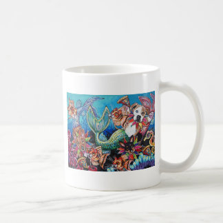 Mer Dogs eating pizza with Cat fish Coffee Mug