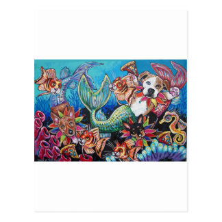 Mer Dogs eating pizza with Cat fish Postcard