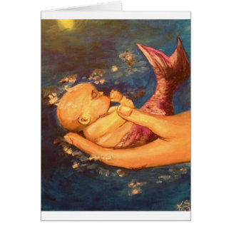 Merbaby at Night Card