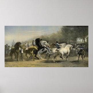 Mercado 1855 del caballo de París Póster