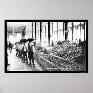 Mercado 1904 de la comida de Zacatecas, México Póster