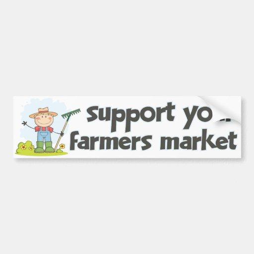 Mercado 1 de los granjeros de la ayuda pegatina de parachoque