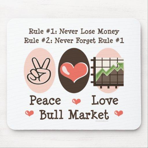 Mercado alcista Mousepad del amor de la paz Alfombrilla De Ratones