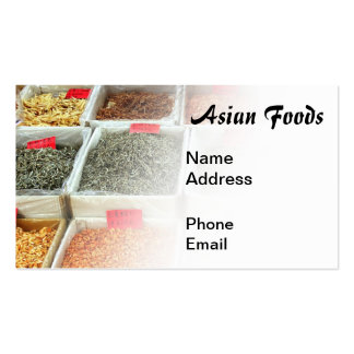 Mercado asiático de las comidas para los camarones tarjetas de visita