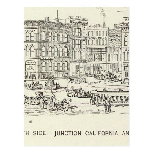 Mercado, California y lado norte de Drumm Postales