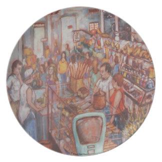 Mercado central en placa del PA de la ciudad de La Plato De Comida