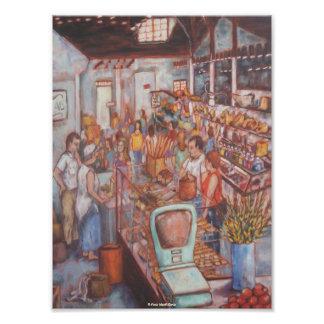Mercado central en poster de la bella arte de la c fotografía