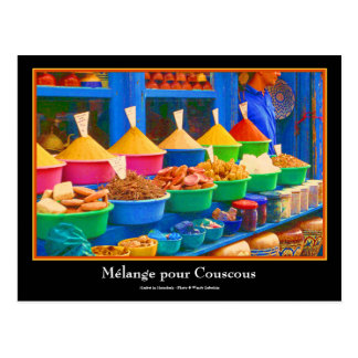 Mercado colorido de la especia en Marrakesh Postal