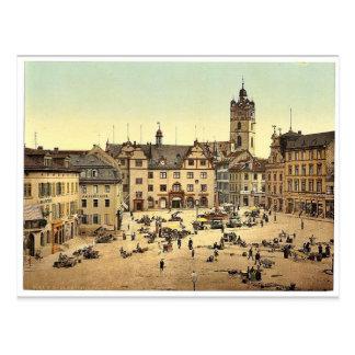 Mercado, Darmstad, el Rin, magnif de Alemania Postales