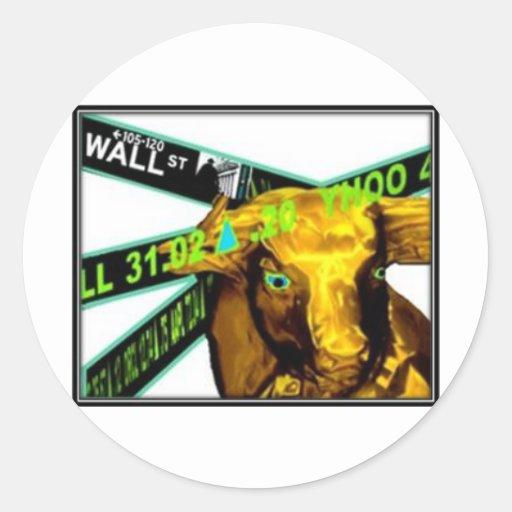 Mercado de acción Bull Pegatinas Redondas