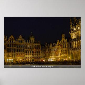 Mercado de Grote, Bruselas, Bélgica Impresiones