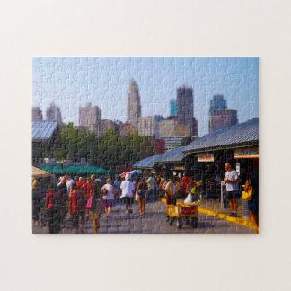 Mercado de la ciudad y horizonte céntrico de Kansa Rompecabezas Con Fotos