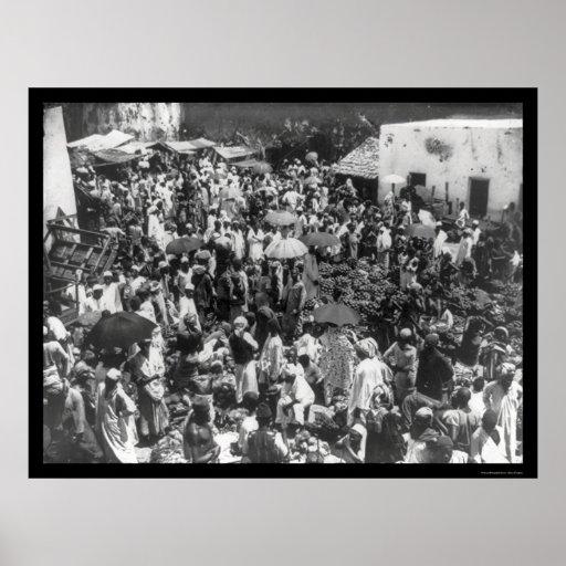 Mercado de la fruta de Zanzíbar 1902 Póster
