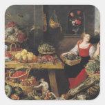 Mercado de la fruta y verdura calcomanía cuadrada