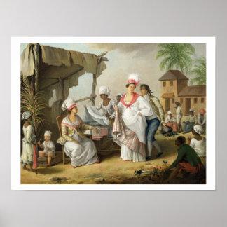 Mercado de lino, Roseau, Dominica, c.1780 (el acei Póster