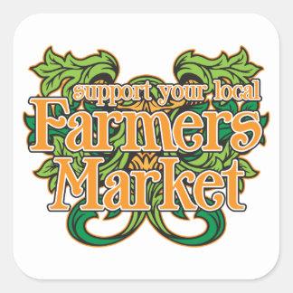 Mercado de los granjeros de la ayuda calcomania cuadradas personalizada