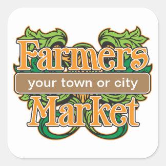 Mercado de los granjeros de la ayuda calcomanías cuadradas