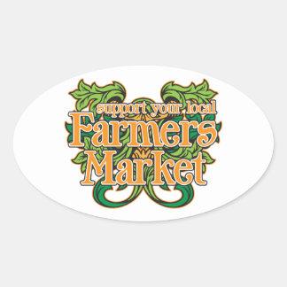 Mercado de los granjeros de la ayuda pegatinas óvales
