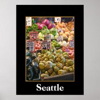 Mercado de lugar de lucios - Seattle Póster