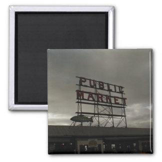 Mercado de lugar de Pike en Seattle Imán Cuadrado