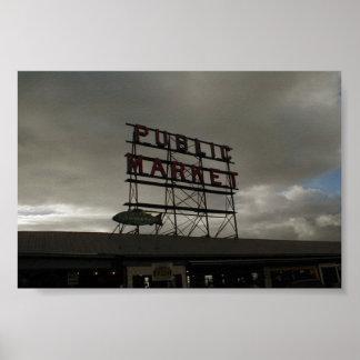 Mercado de lugar de Pike en Seattle Póster