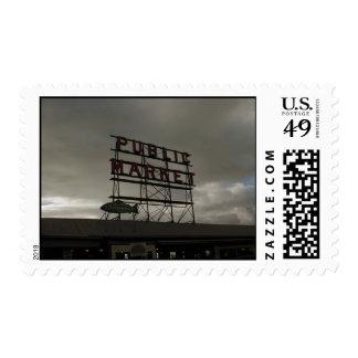Mercado de lugar de Pike en Seattle Sello Postal