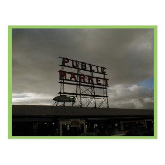 Mercado de lugar de Pike en Seattle Tarjeta Postal