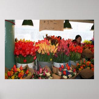 Mercado de lugar de Pike - flores para la venta -  Póster