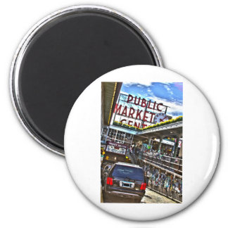 Mercado de lugar de Pike Imán Redondo 5 Cm