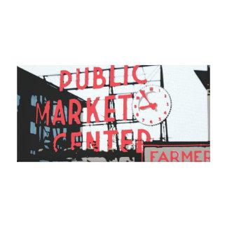 Mercado de lugar de Pike Impresión En Lona Estirada